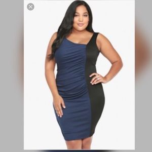 Torrid Black and Blue Ruched Bodycon Dress
